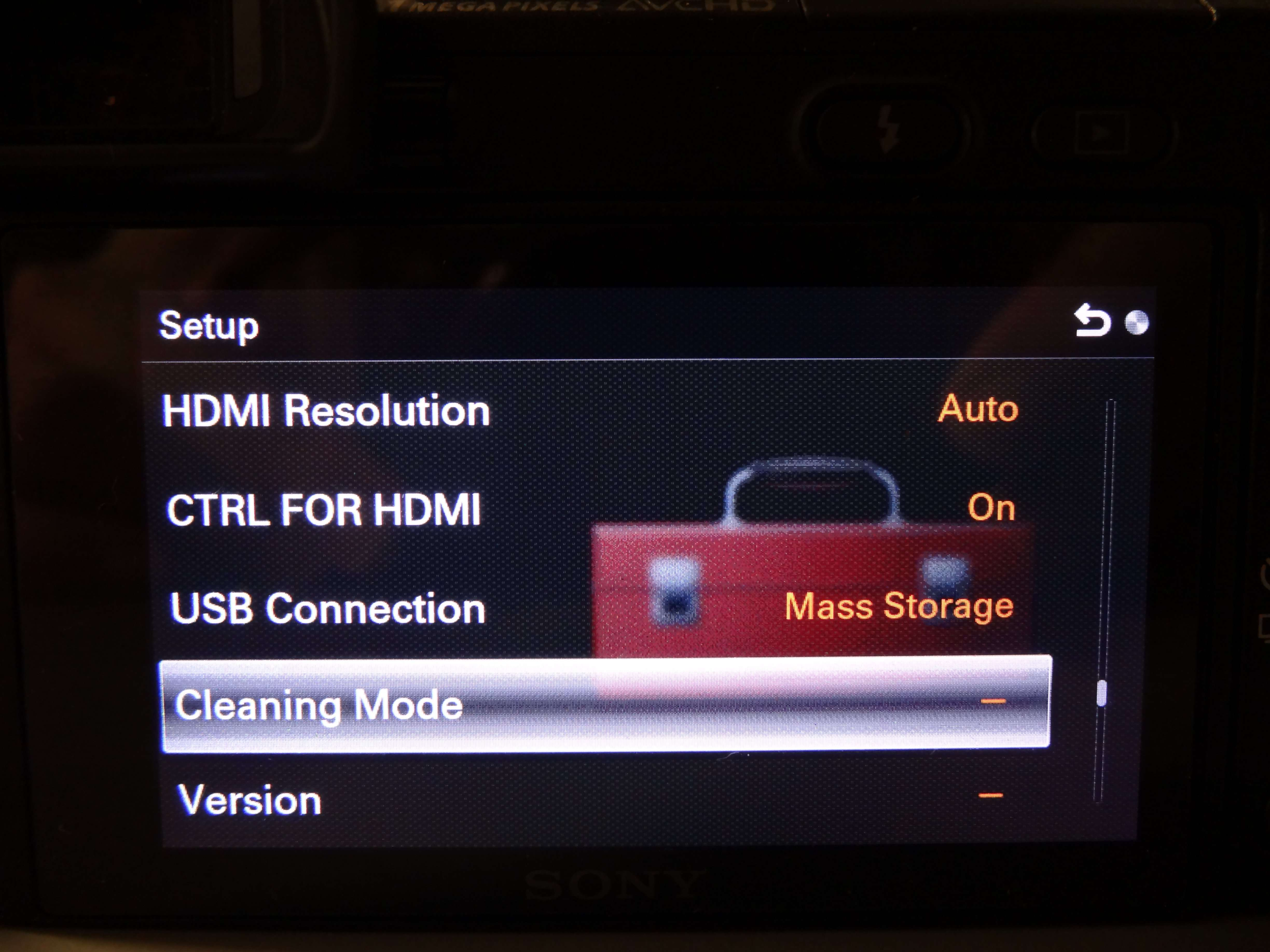 Camera Built-in Cleaning Mode